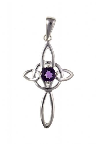 Sterling Silver | Celtic | Amethyst Cross | Including Chain